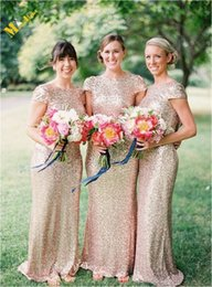 Wholesale Cowl Back Bridesmaid Dresses - Cheap Long Champagne Gold Sequin Bridesmaid Dresses 2015 under 100 with Cap Sleeves Vestidos Floor Length Cowl Back Prom Dresses