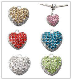 Wholesale Full Pandora Bracelets - 20pcsNew Fashion Heart Pendants Full Of Crystals 925 Sterling Silver European Bead Charm For Women Snake pandora Bracelet Bangle Jewelry DIY
