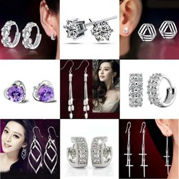 Wholesale Crystal For Chandelier Wholesale - Silver Stud Earrings Hot Sale Crystal Flower Drop Dangle Earring for Women Girl Party Fashion Jewelry Wholesale Free Shipping 0203WH