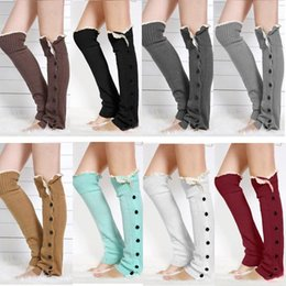 Wholesale Womens Wool Boot Socks - 2015Christmas Gift womens boot socks leg warmer lace button winter Leggings Warm up knitted booty Gaiters foot cover knee high socks