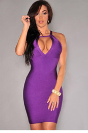 Wholesale Strappy Back Mini Dress - Purple Strappy Cut-Out Back Bandage Dress LC28298 FG1511
