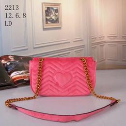 Wholesale Velvet Design - New Design Women's Fashion Style Velvet Handbags Handbag Shoulder Bag Gold Chain Stripes Bag and 6 Colors