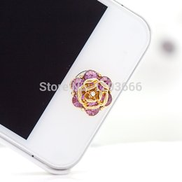 Wholesale Rhinestone Home Phones - Wholesale-NO.99 1pcs home button sticker for iphone 6 4s 5 5s iPad,diamond cartoon sticker pearl rhinestone phone decoration accessory