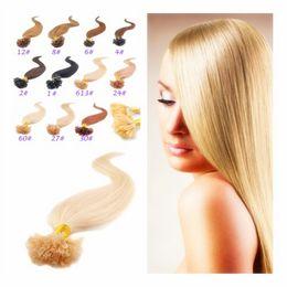 "Wholesale European Hair Nail Tip - 2015 New Style! 18""-28""Long Nail Hair 100g Natural European Female Straight Hair U Tip Hair Extensions Blonde Color In Stock"