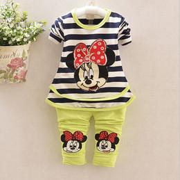 Wholesale Green Stripe Long Sleeve Shirt - Kids clothes Mickey girl shirt+pant set 2 pieces children long sleeve stripe clothes suit 100% cotton