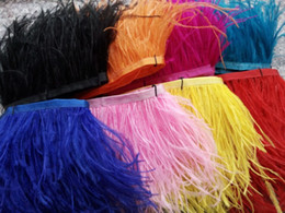 Wholesale Wholesale Ostrich Feather Trim - 10 Yards 10-15cm 4-6 inches Trim Ostrich Fringe fluffy ostrich plumes feather centerpieces wedding party Clothing decoration feathers