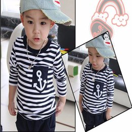 Wholesale Long Navy Pants Boys - New Spring Summer Kids Clothes Navy Long Sleeve Pullover Striped Sports Suit Casual Boys Girls Baby Clothing Sets Pants Children Tracksuit