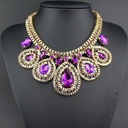 Wholesale Vintage Necklace Wholesale Manufacturer - Wholesale-New Vintage Golden Oval Necklaces & Pendents Chunky Statement Crystal Fashion Jewelry Necklace Manufacturers wholesale