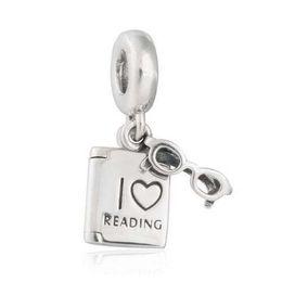 Wholesale Read Love - I Love Reading Charms Pendants Fit Pandora Bracelet 925 Sterling Silver Dangle Glasses Book Beads DIY Shealia Jewelry