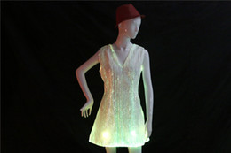Navios de carnaval on-line-Fibra Óptica LEVOU vestido mulheres traje luminoso roupas carnaval traje luminoso vestido frete grátis