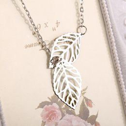 Wholesale Sliver Plate Wholesale - 2016 New Gold And Sliver Two Leaf Pendants Necklace Chain multi layer statement necklaces Woman Gift SALE ZJ-0903227