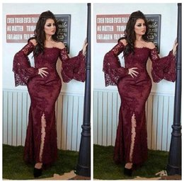 Wholesale White Forma Dress Sleeves - Burgundy Sexy Off Shoulder Lace Dresses Evening Wear 2018 Long Sleeves Mermaid Appliques Saudi Arabic Forma Prom Dress Party Gown