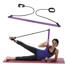 Wholesale Exercise Sticks - New Portable Pilates Bar Gym Stick Yoga Exercise Bar Pilates Trainer Fitness Training with following DVD Foam handle H111