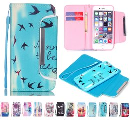 Wholesale Sumsung Case S4 - Hybrid 2in1 Wallet Flip Leather Cover Case With Credit Card Slots Holder For iphone 5s 6 plus Sumsung Galaxy s4 s5 s6 edge note 3 4
