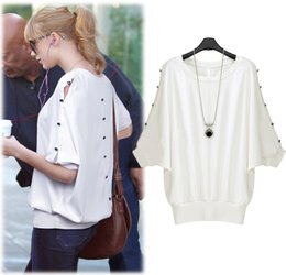 Wholesale Short Sleeve White Women Shirts - 2015 New Fashion Bat Buttons Hollow Short Sleeve T-Shirt Female Summer Style White Casual Dress Plus Size Women Clothing order<$18no track