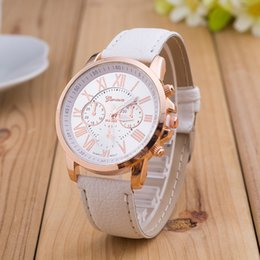 Wholesale Geneva Chronograph Watches - New Fashion Roman Numerals Geneva Women Dress Watches Leather Quartz Watch Casual Analog Wristwatch Montre Femme