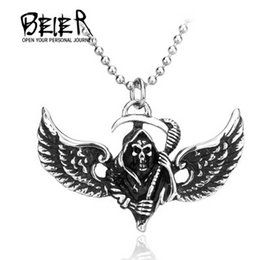 Wholesale Winged Death - BEIER fashion new Titanium steel jewelry wholesale Gentleman personality pendant Wing hang power of a god of death