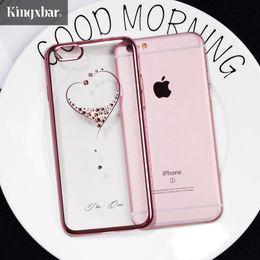 Wholesale Cases Swarovski Diamond - Kingxbar For Iphone 6s 6 7 8 Plus Case Swarovski Element Crystal Diamond Luxury Case For Iphone 7 Plus 8 Plus Cover Phone Coque