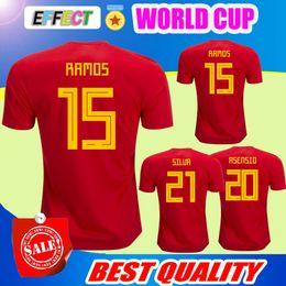 Wholesale Ramos Shirts - Thailand camisetas de futbol ASENSIO MORATA ESPANA Spain soccer jerseys world cup 2018 RAMOS INIESTA football shirt Camisa maillot de foot