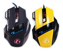 Wholesale 7d Wire - Professional Gaming Mouse 3200 DPI 7 Buttons 7D LED Optical USB Wired Mouse Mice for Laptop PC New Arrivel with retial box
