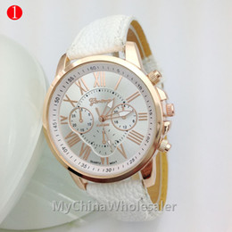 Wholesale Geneva Watches Yellow - High Quality New Geneva Women's watches Quartz relogio Roman Numerals Faux Leather Analog Wrist Watch