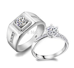 Wholesale Diamond Wedding Rings For Couples - 2015 New Couple Ring Lover Wedding Rings for Men Women Simulated Diamond Paved 925 Sterling Silver Wedding Bands