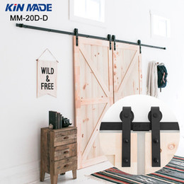 Kin Made Double Panel Antique Style Steel Sliding Barn Door Closet Hardware Kit Closet Sliding Hardware Factory Wholesale