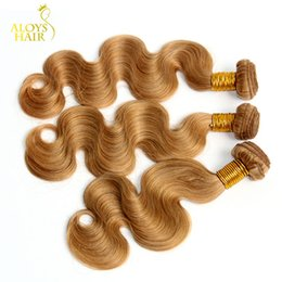 human hair weave honey blonde Promo Codes - Honey Blonde Hair Weave Bundles Grade 8A Peruvian Virgin Hair Body Wave Wavy Color 27# 100% Peruvian Remy Human Hair Extensions Tangle Free