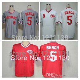 Wholesale Bench Shirts - 2015 New Free Shipping Cincinnati Reds Johnny Bench Jersey Shirt #5 Baseball Home Road Away Cool Red Grey White100% Embroider Stitching