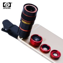 Wholesale Lens Tele - Universal 8x telephoto Zoom Phone Tele Fisheye Wide Macro Camera Kit For iPhone 6 6S Plus 5 Samsung S7 S6 APL-19CX3 lens