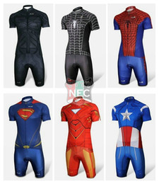 Wholesale Sleeves Spider - Men's Short Sleeve Cycling Suit Unique Super Hero Iron SPIDER MAN Bat man CICLO JERSEY Bike Jersey + Shorts maillot Gel pad