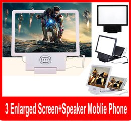 Wholesale Video Display Stands - Upgrade Enlarged Screen 3D Video Amplifier Eyes Display Magnifying with Speaker Cell phone Stand with Package.