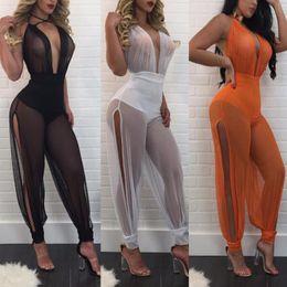 Wholesale Transparent Party Wear Women - Wholesale- 2017 Summer Sexy Club Wear Women Jumpsuit 3 Colors V-Neck Mesh Patchwork Transparent Skinny Jumpsuit Party Rompers Femme OMS