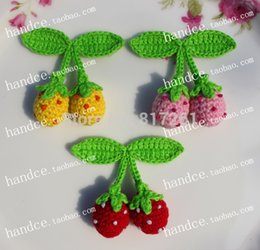 Wholesale Knit Strawberry - European fashion 2015 new arrival cotton knitted strawberry 12pic lot headwear hair accessories for hair decoration girl love