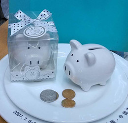 Wholesale Wedding Showers - Baby shower favors Ceramic Mini Piggy Bank in Gift Box with Polka-Dot Bow Wedding Favors and gifts 100pcs LOT Wholesale