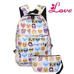 stampa smiley Sconti Lucia's 2 PCS tela Leisure Travel Backpack Pochette 3D Faccina Emoji Face Printing School Bag Adolescenti Mochila MN265