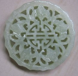 Wholesale Old Jade - Chinese Xinjiang old green jade hand-carved five bat pendant bring luck (Wu Fu Lin Men)