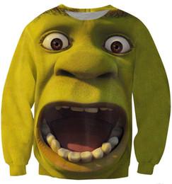 Wholesale Shrek Clothes - Alisister 2015 new fashion men women 3d pullover hoodies funny cartoon Shrek sweatshirt spring fall female Harajuku top clothing