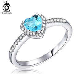 Wholesale Big 925 Silver Set - ORSA Big Blue Crystal Heart Ring with Paved AAA Cubic Zircon 925 Sterling Silver Ring for Mother's Day Gift OR74