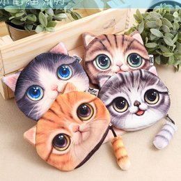 Wholesale Big Ladies Wallet - 4 Styles New Cat Coin Purse Ladies 3D Digital Printing Big Cats Face Fashion Cartoon Zipper Bag For Children YC2006