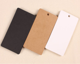 Wholesale Clothes Cards Price Tags - Wholesale 5*10cm 1000Pcs Lot Kraft Paper Party Wedding Favor Gift Label Wish Greeting Cards DIY Rectangle Tags Label Clothing Price Hang Tag