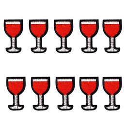Wholesale Wine Transfer - 10PCS Red Wine Iron on Transfer Applique Patch for Clothing Bags Embroidery Patches for Garment Jeans DIY Sew on Embroidery Badge