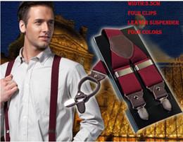 Wholesale Men Braces Suspender - 2015 fashion classic man leather brace suspenders 3.5 cm width Adjustable Four Clip-on suspenders braces Men's Gift