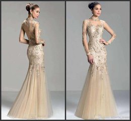 Wholesale Charming Lace Dress Sleeves - 2015 High Neck Mermaid Newest Prom Dresses Illusion Long Sleeve Charming Janique Formal Fashion Applique Lace Evening  Party Gowns
