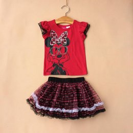 Wholesale Cute Skirts For Summer - summer girl dress girl cartoon pattern sets kids shirt+skirt 2pcs suits red color for 1~5 years baby