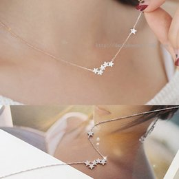 Wholesale Eastern Star Necklace - Korea pentacle star necklace 925 silver inlay zircon micro accessories summer short paragraph clavicle chain pendant necklace female short