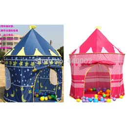 Wholesale Blue Castle Play Tent - 2pcs pink and blue Prince and Princess Palace Castle Children Playing Indoor Outdoor Toy Tent