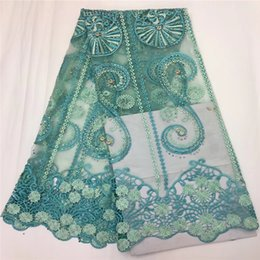 Wholesale Embroidery For African Clothes - 5 Yards lot Nigeria Lace Fabric Embroidery African Polyester Lace Fabric Flower Design Swiss Voile Lace For Clothes GN190-