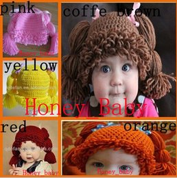 Wholesale Kids Crochet Hat White - Free Shipping 100% Handmade Crochet Baby Girls Wigs Cabbage Patch Hat Newborn Infant Toddler Kids Children Beanie Cotton Photographic props