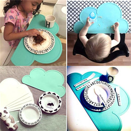 Wholesale Meal Pad - Wholesale- Non-toxic BPA Free 48*27cm Kids Pads Cloud Silicone Placemat Heat Resistant Mat Silicone Table Mat Children Meal Dinning Mats